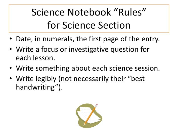 "Science Notebook ""Rules"""