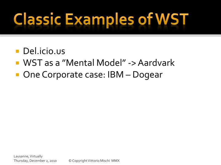 Classic Examples of WST