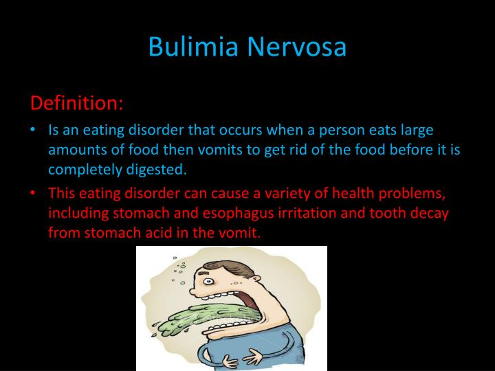 binge eating in bulimia nervosa Bulimia nervosa is defined by repeated episodes of binge eating followed by compensatory behaviours people with bulimia nervosa often place an excessive emphasis on body shape or weight in their self-evaluation this can lead.