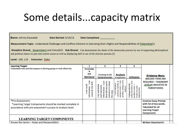 Some details...capacity matrix