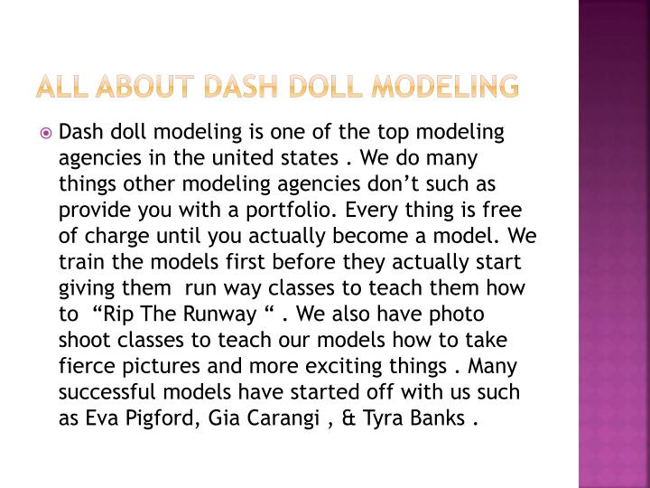 All about dash doll modeling