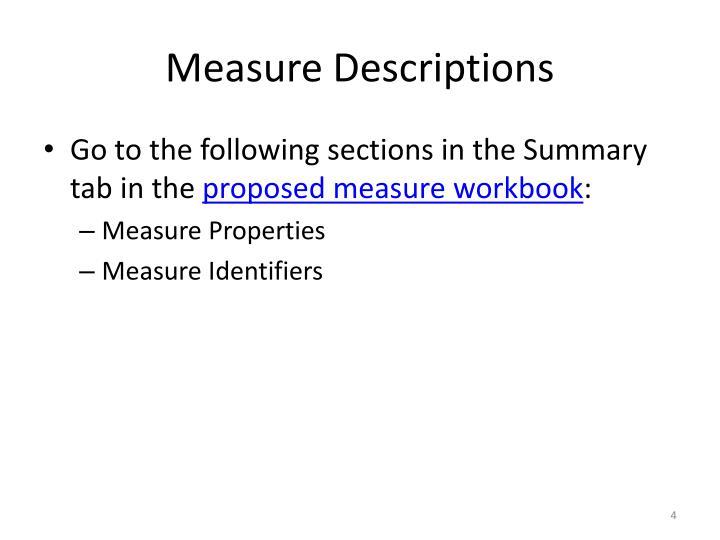 Measure Descriptions