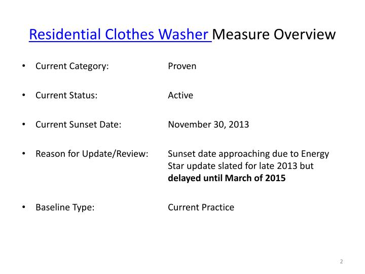 Residential clothes washer measure overview