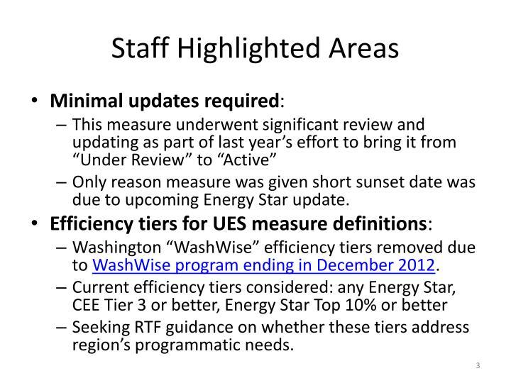 Staff highlighted areas
