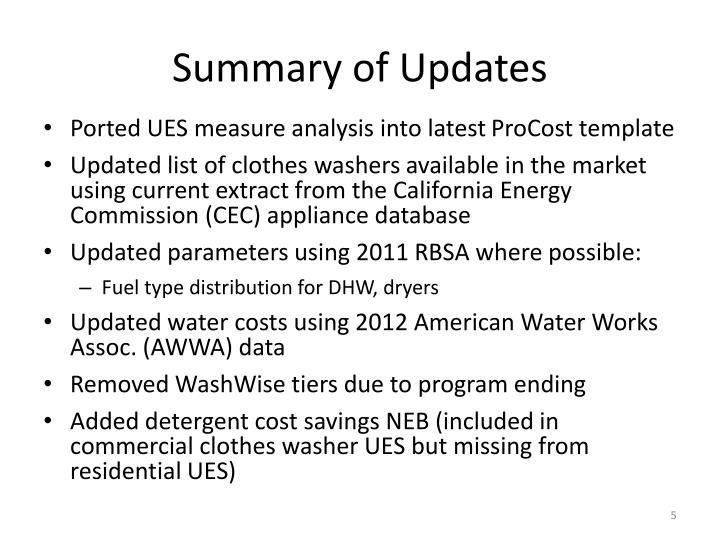 Summary of Updates