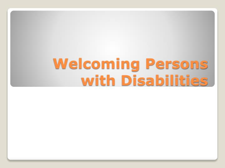welcoming persons with disabilities n.