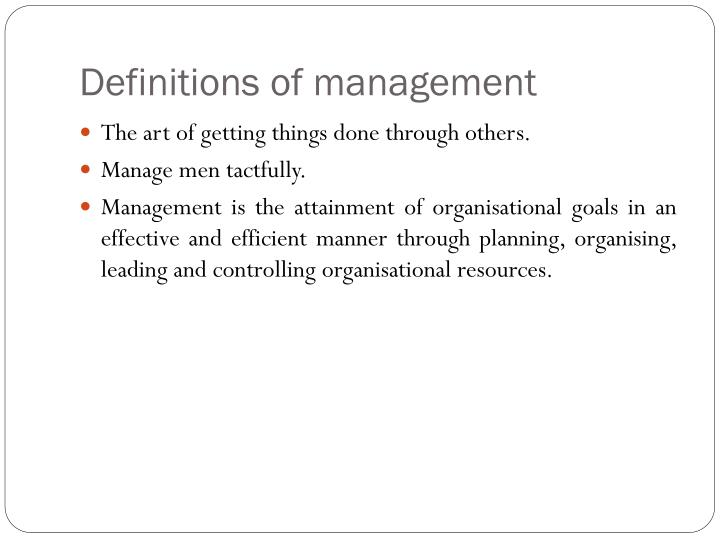 Definitions of management