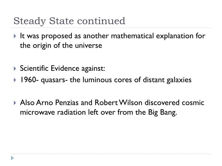 Steady State continued