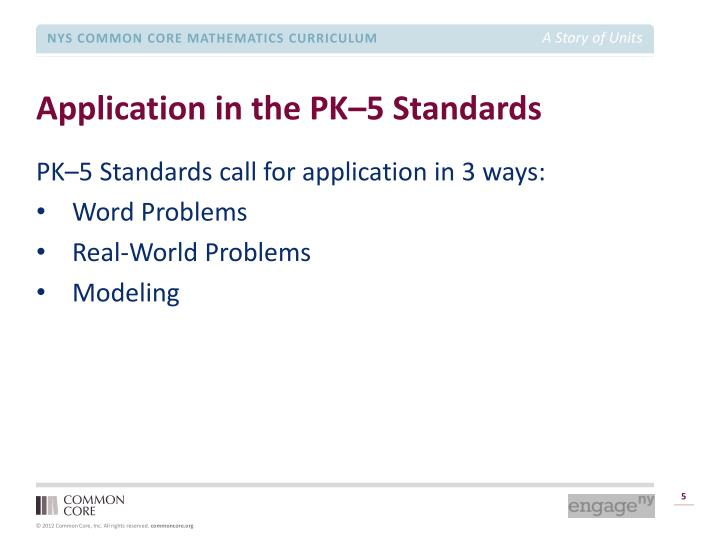 Application in the PK–5 Standards