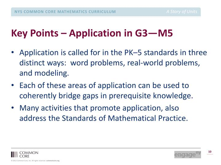 Key Points – Application in G3—M5