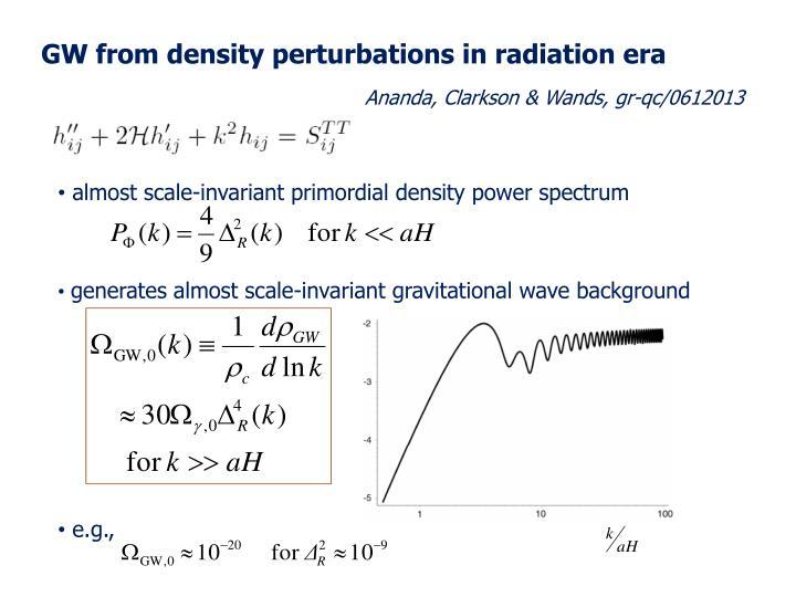GW from density perturbations in radiation era