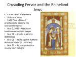 crusading fervor and the rhineland jews