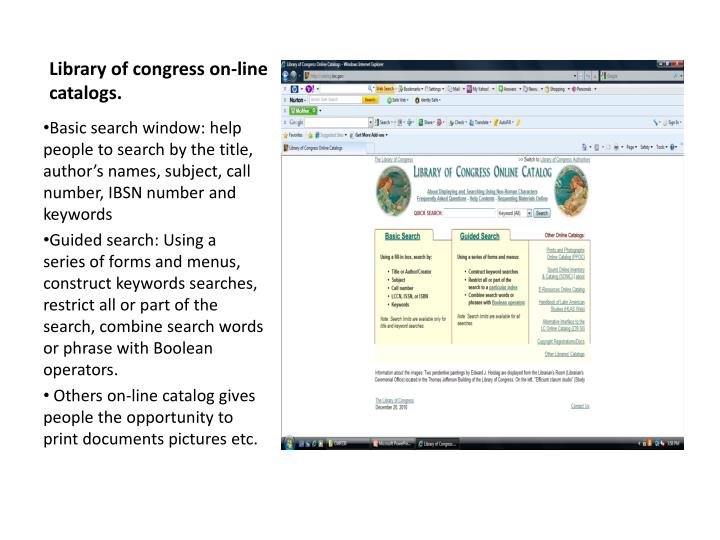 Library of congress on-line catalogs.