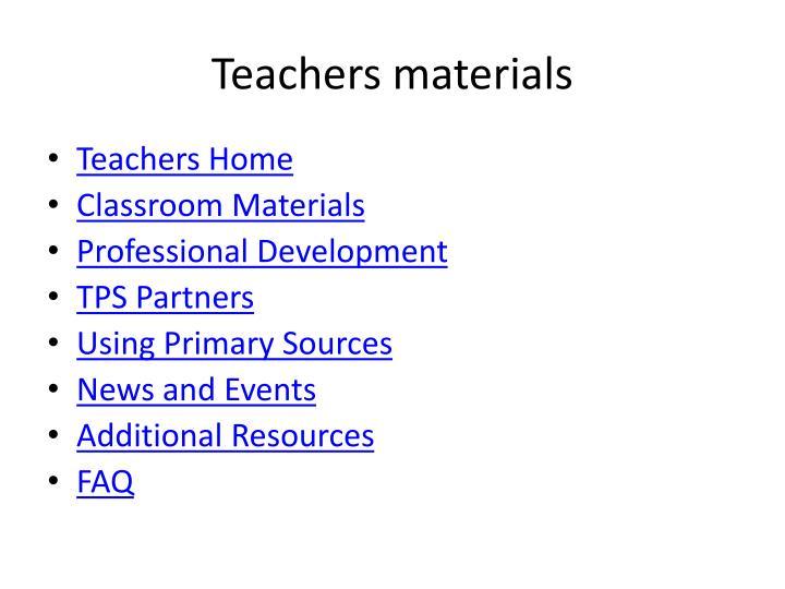 Teachers materials