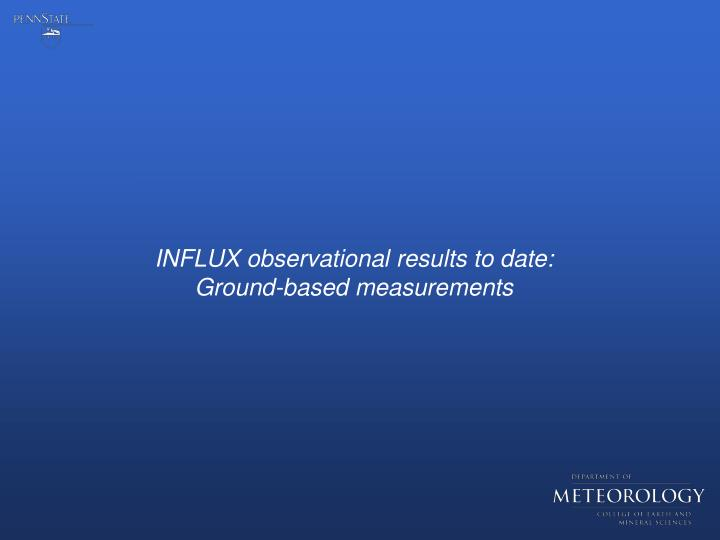 INFLUX observational results to date: