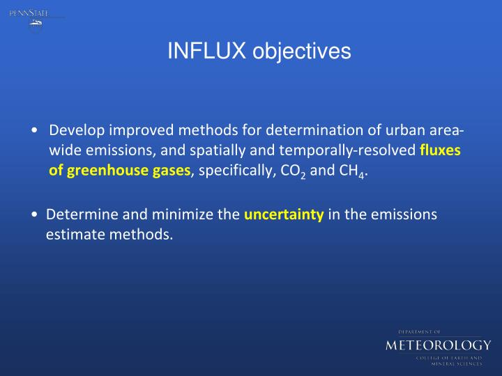 INFLUX objectives