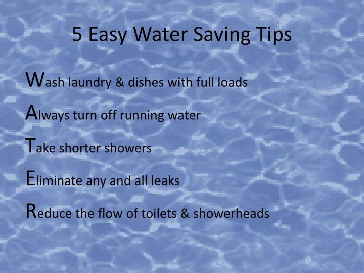 5 Easy Water Saving Tips