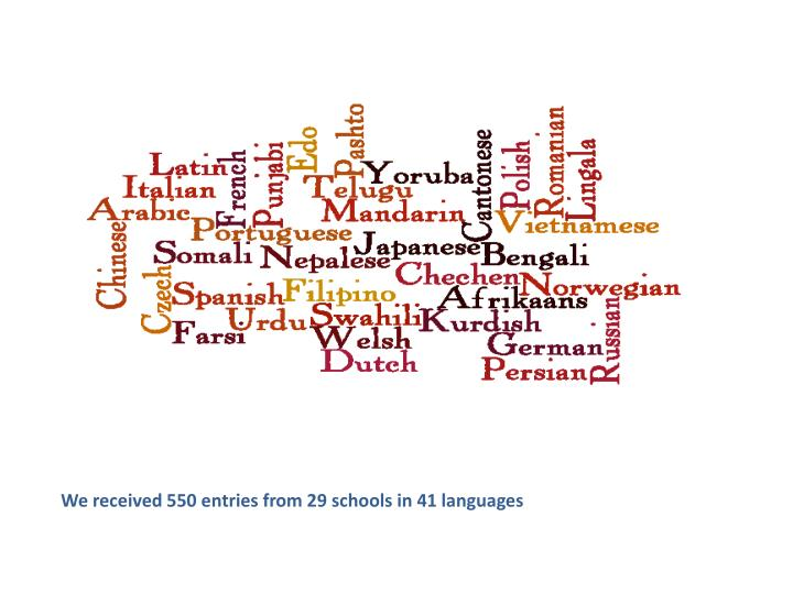 We received 550 entries from 29 schools in 41 languages