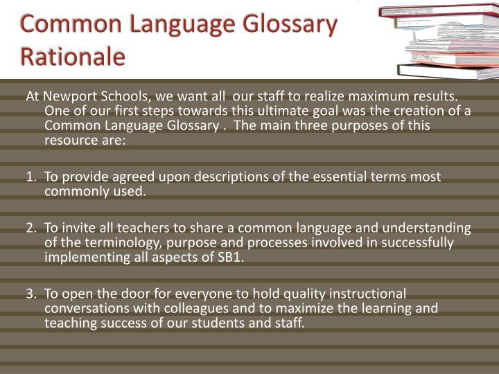 Common Language Glossary