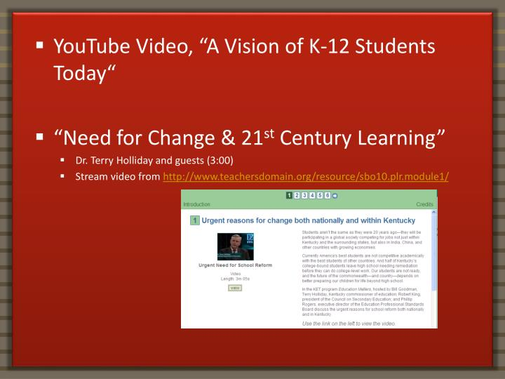 """YouTube Video, """"A Vision of K-12 Students Today"""""""