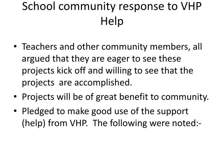 School community response to vhp help