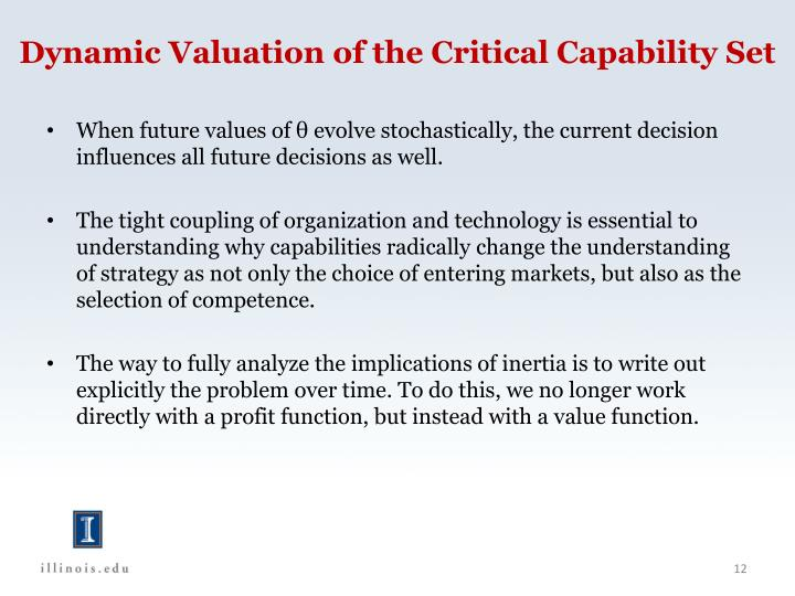 Dynamic Valuation of the Critical Capability Set