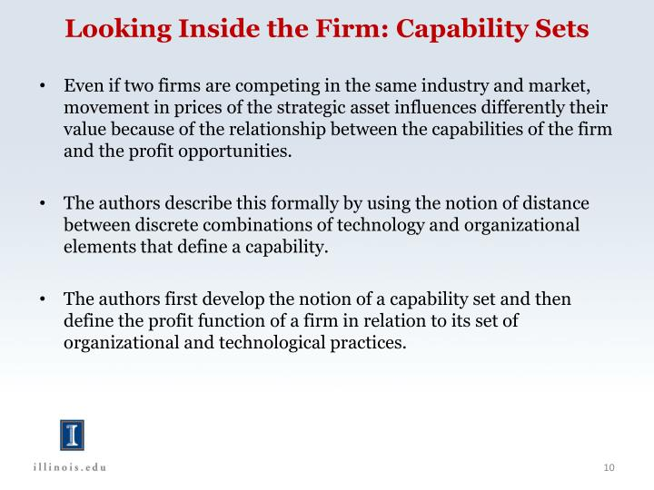 Looking Inside the Firm: Capability Sets