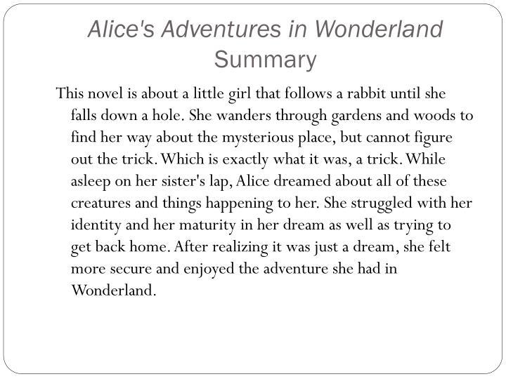 Meget Kort Oversigt Over Alice I Wonderland