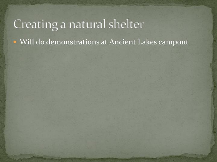 Creating a natural shelter
