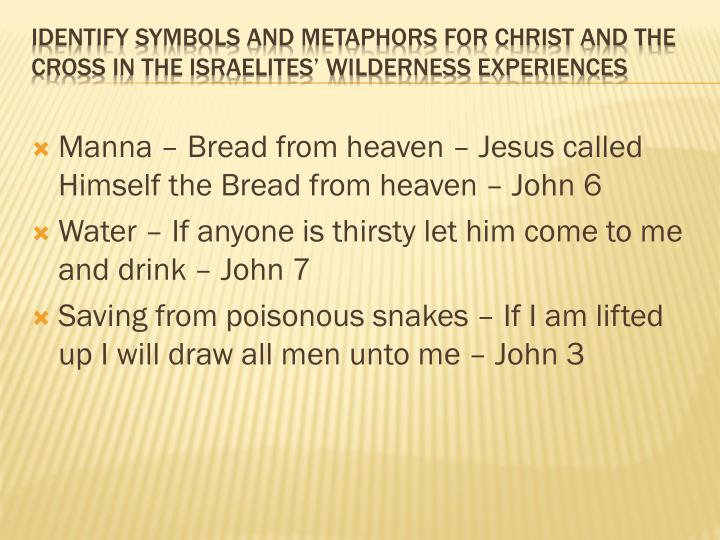 Manna – Bread from heaven – Jesus called Himself the Bread from heaven – John 6
