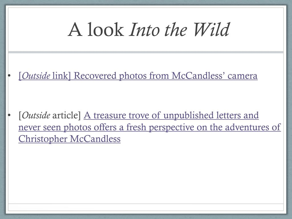 PPT - Into the Wild Chapters 5-9 PowerPoint Presentation ... |Into The Wild Powerpoint