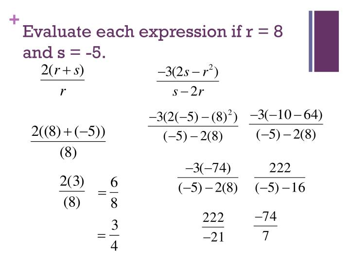 Evaluate each expression if