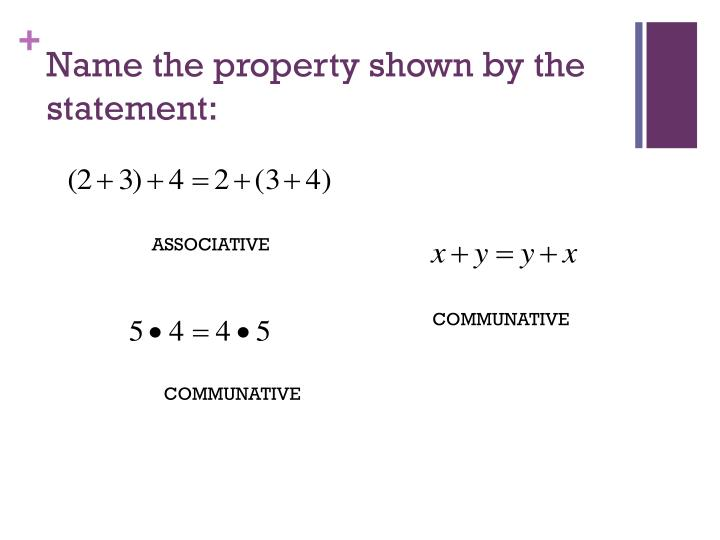 Name the property shown by the statement: