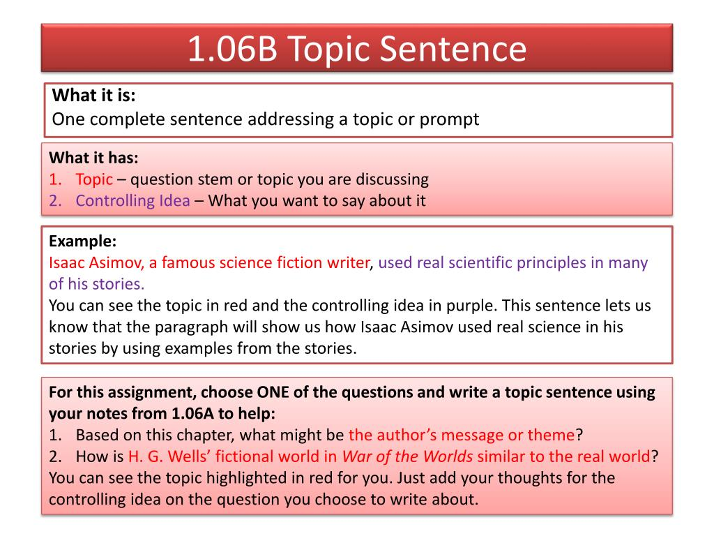 ppt - 1.06b topic sentence powerpoint presentation - id:2620734