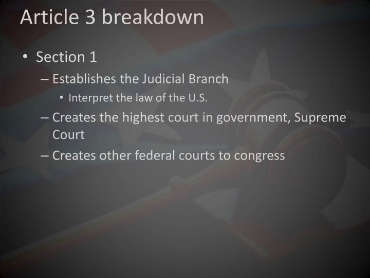 Article 3 breakdown