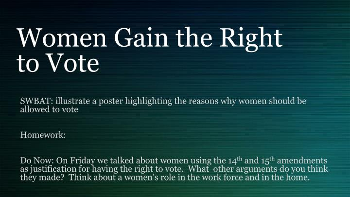 an explanation of why women failed to gain the right to vote Why women failed to gain the right to vote in between 1900 and 1914 women failed to get the vote why women failed to get the right to vote.
