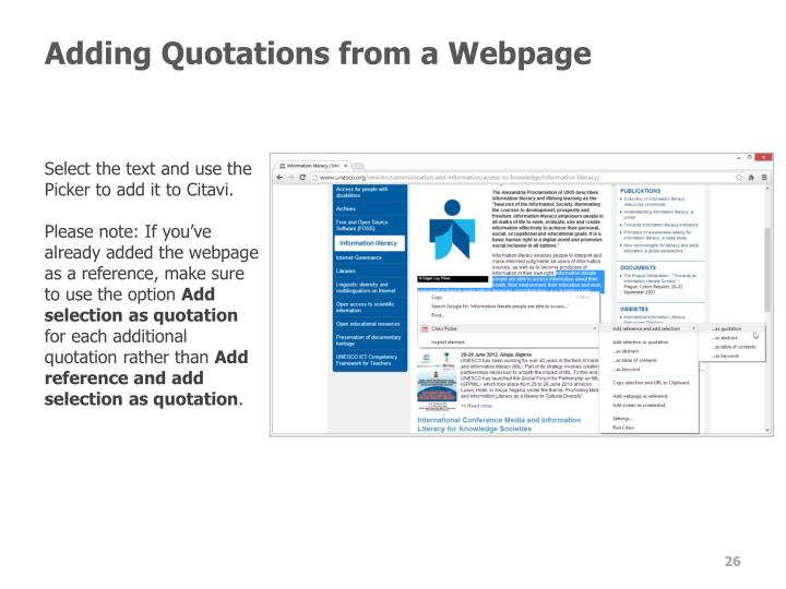 Adding Quotations from a Webpage