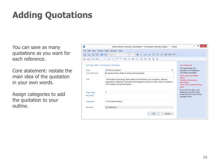 Adding Quotations