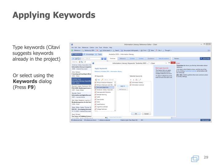 Applying Keywords