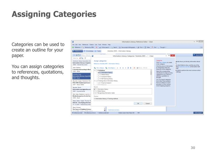 Assigning Categories