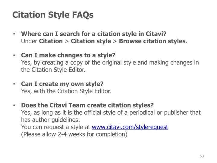 Citation Style FAQs