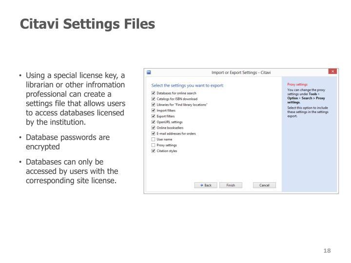 Citavi Settings Files