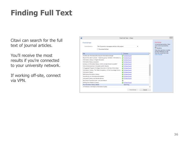 Finding Full Text