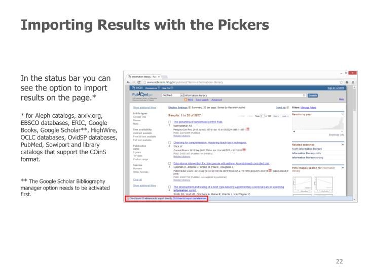 Importing Results with the Pickers