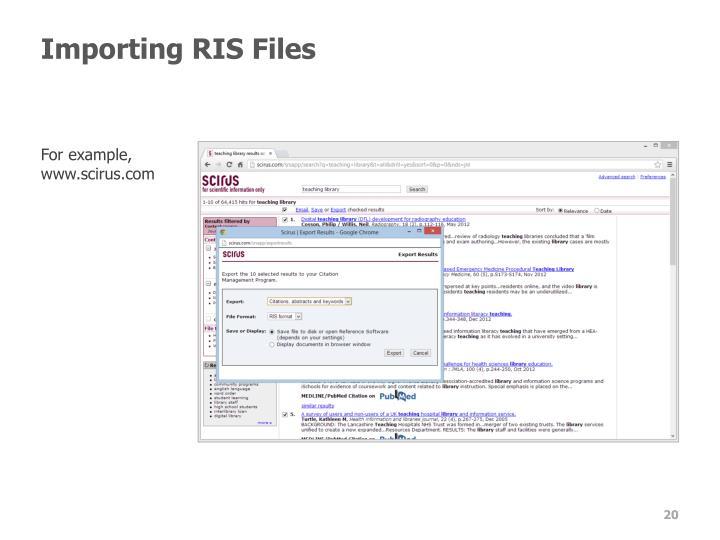 Importing RIS Files