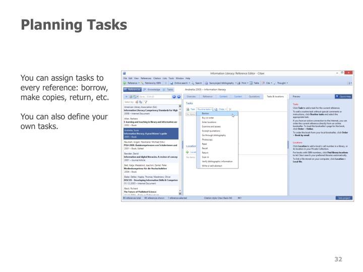 Planning Tasks