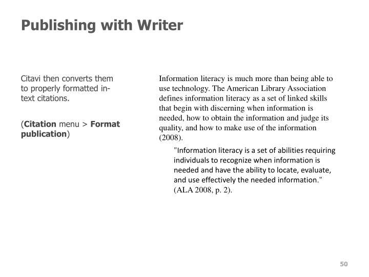 Publishing with Writer