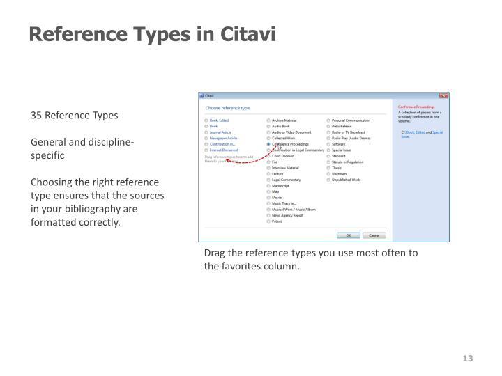 Reference Types in Citavi
