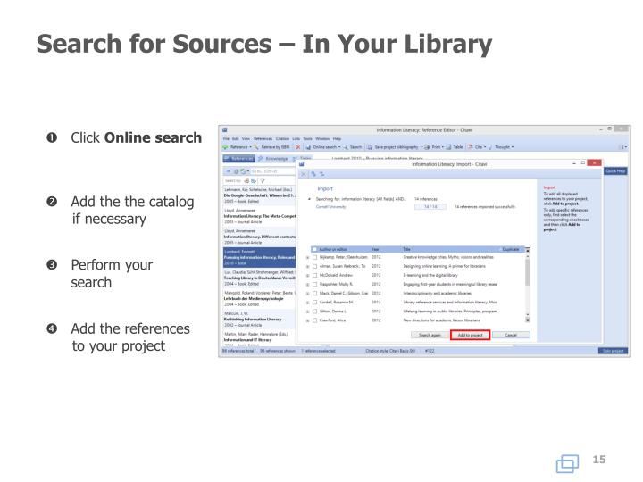 Search for Sources – In Your Library