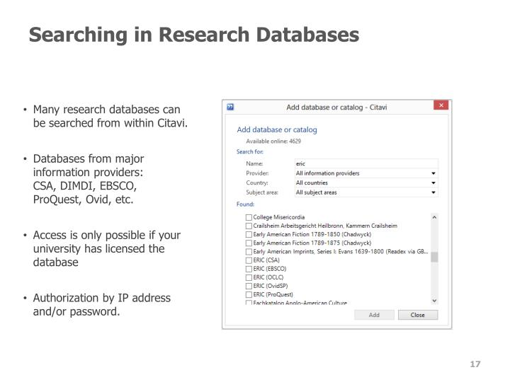 Searching in Research Databases